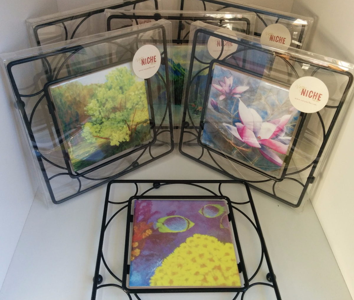 Functional art by shari monner visual artist give the gift of functional art with a metal and ceramic tile trivet printed with my art dailygadgetfo Images
