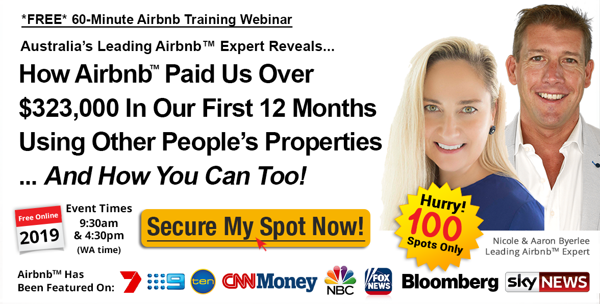 FREE Airbnb Online Training Webcast 60 Minutes with Nicole & Aaron Byerlee