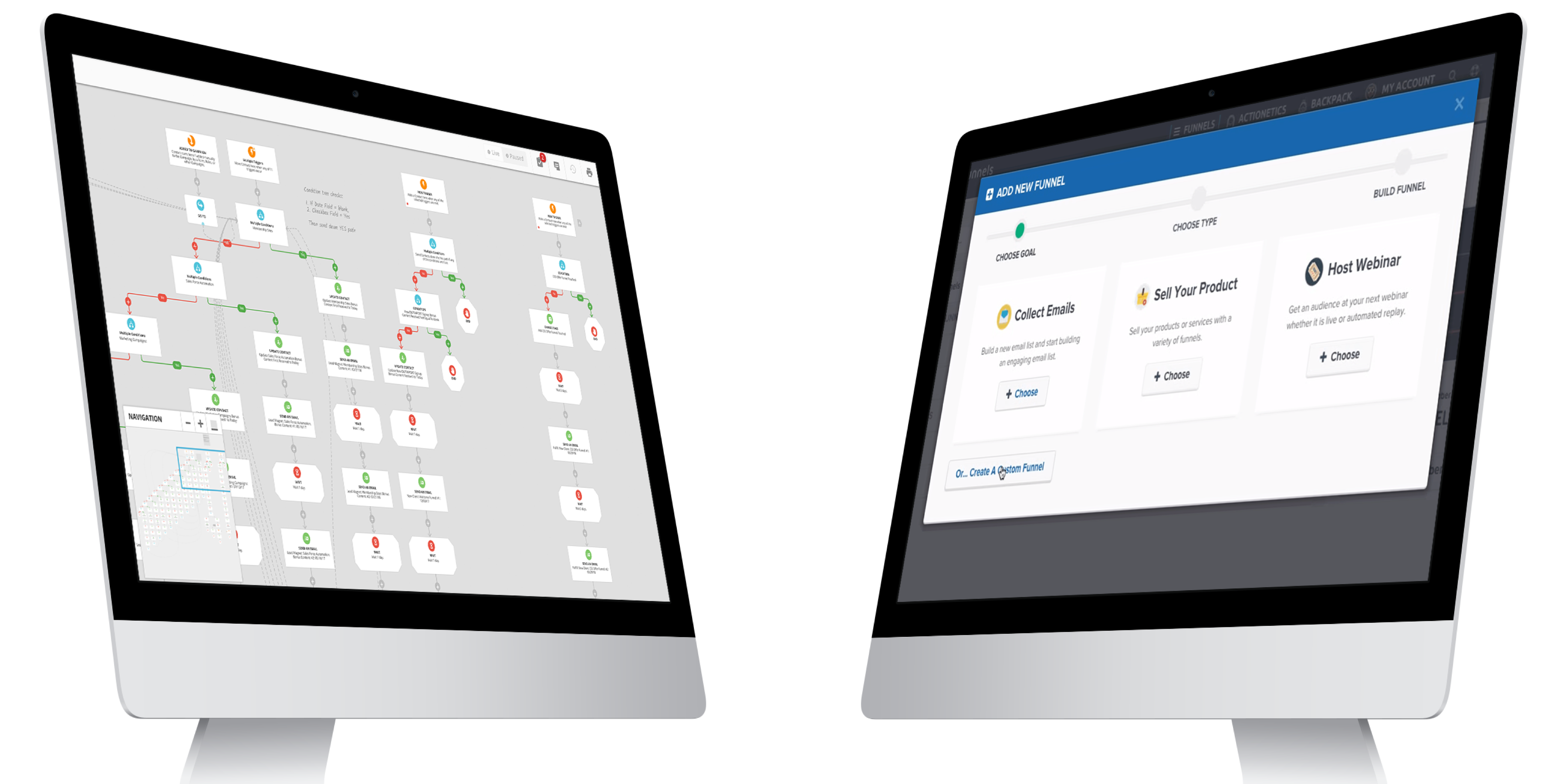 Two desktop computers displaying the Ontraport app on the left and the ClickFunnels app on the right